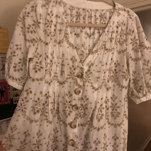 Anthropologie Button Lace Short Sleeve Top